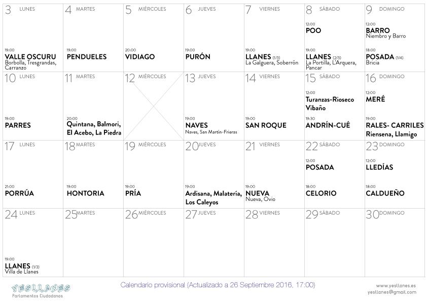 Calendario Parlamentos Llanes actualizacion 26-sept